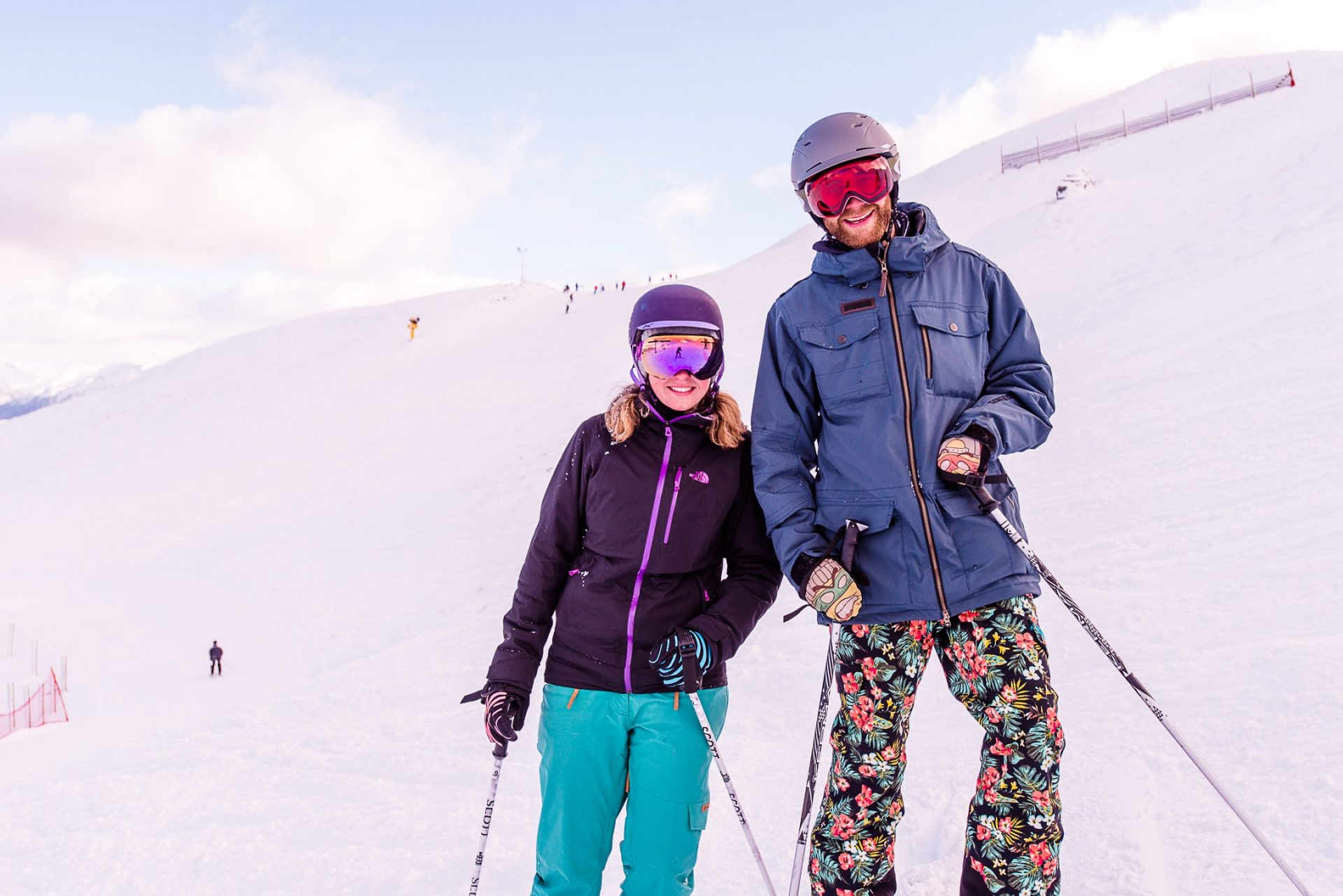 Ski instructors Sarah Gregory and Michael Carroll at Coronet Peak