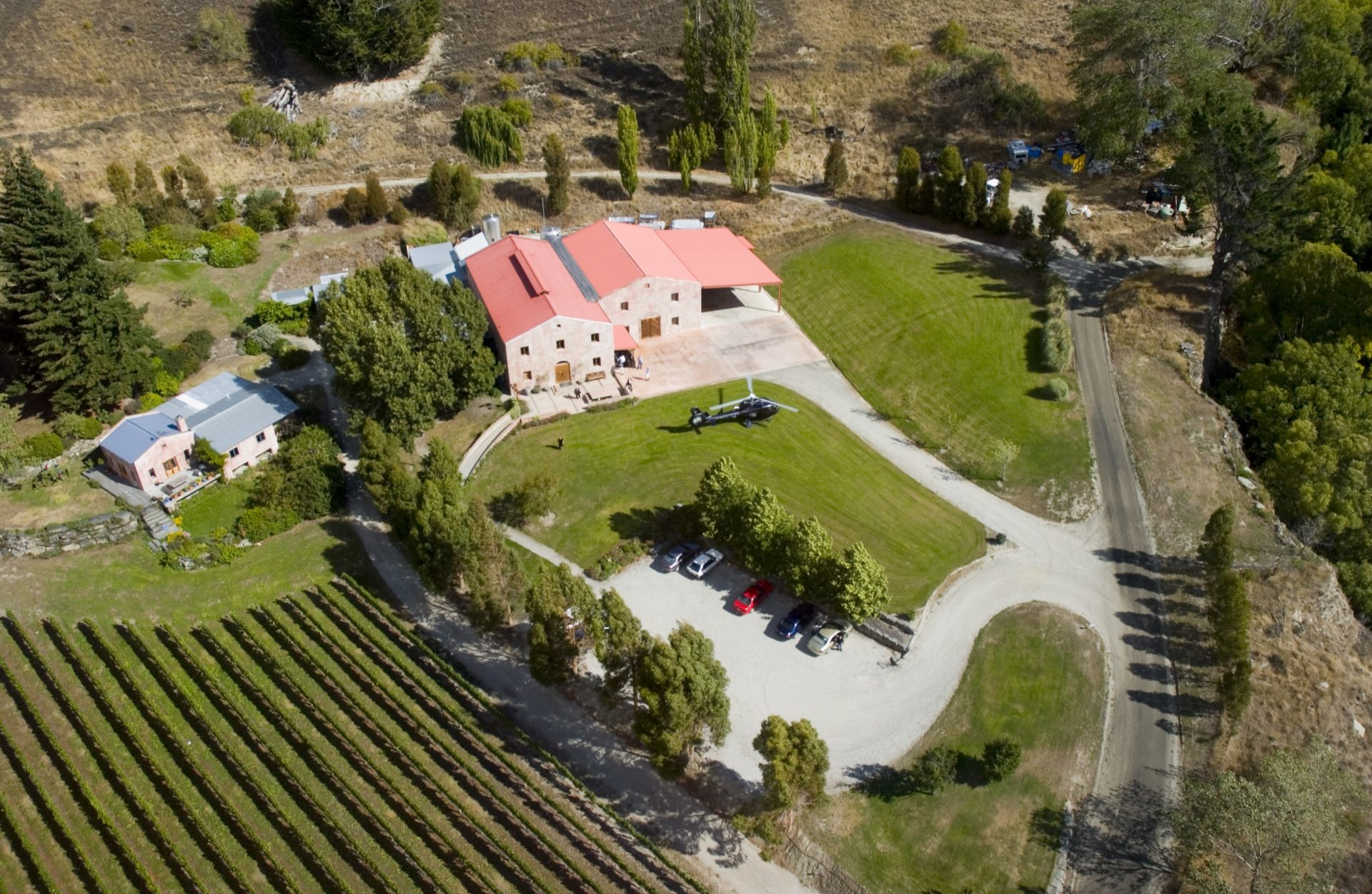 Aerial-view-of-winery-in-Gibbston