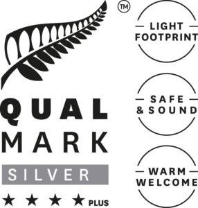 Stacked Qualmark 4 Star Plus Silver Sustainable Tourism Business Award Logo 286x300